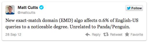 Matt Cutts EMD Tweet