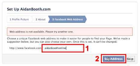 Facebook Web Address